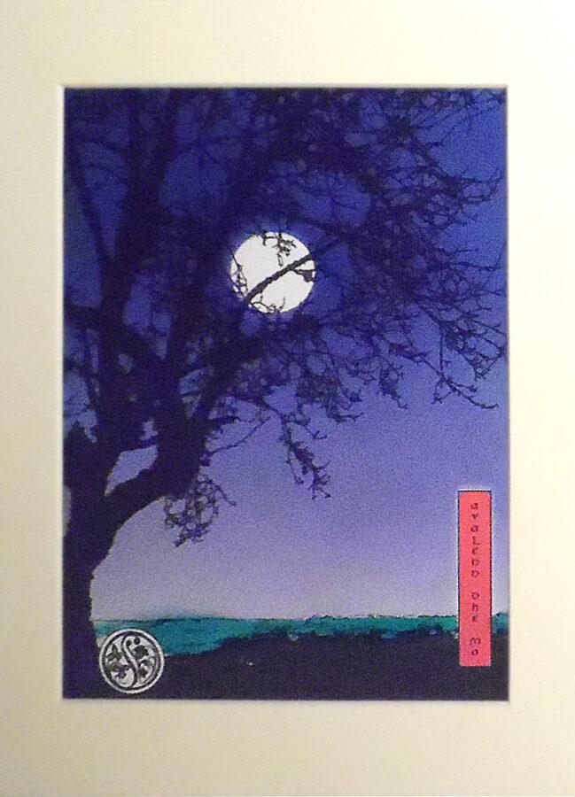 Apple Tree At Dusk - Indigo & Violet With Centre Moon