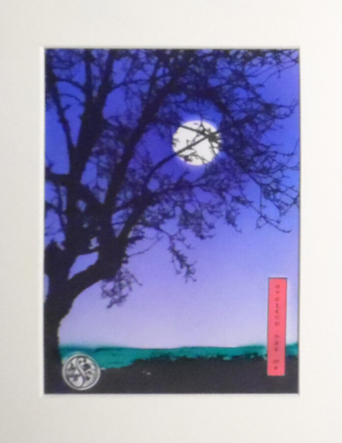 Apple Tree At Dusk - Ultra Marine & Violet With Centre Moon