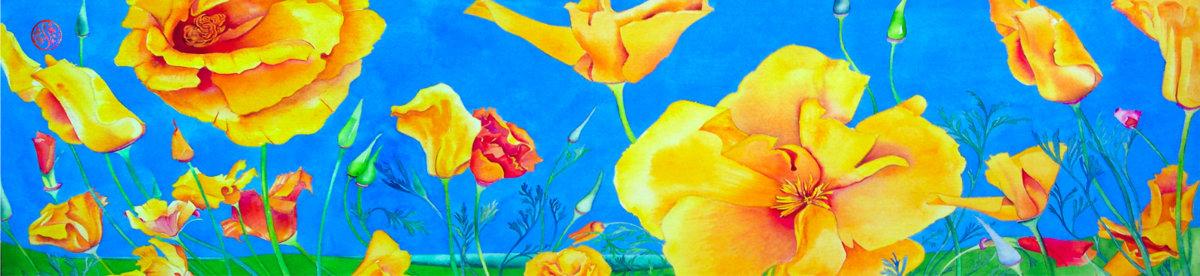 Californian Poppies Paris Chiffon (Poly)