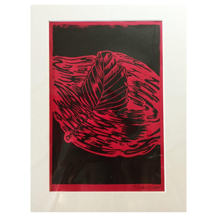 Drifting Beech Leaf - First Cut Black On Red