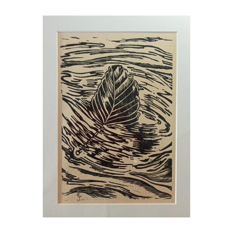 Drifting Beech Leaf - Black On Fawn