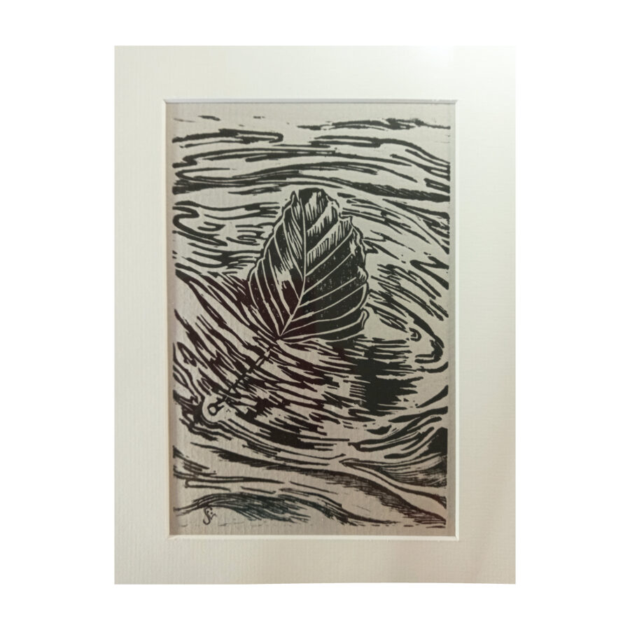 Drifting beech Leaf - Black On Grey Ingres Paper