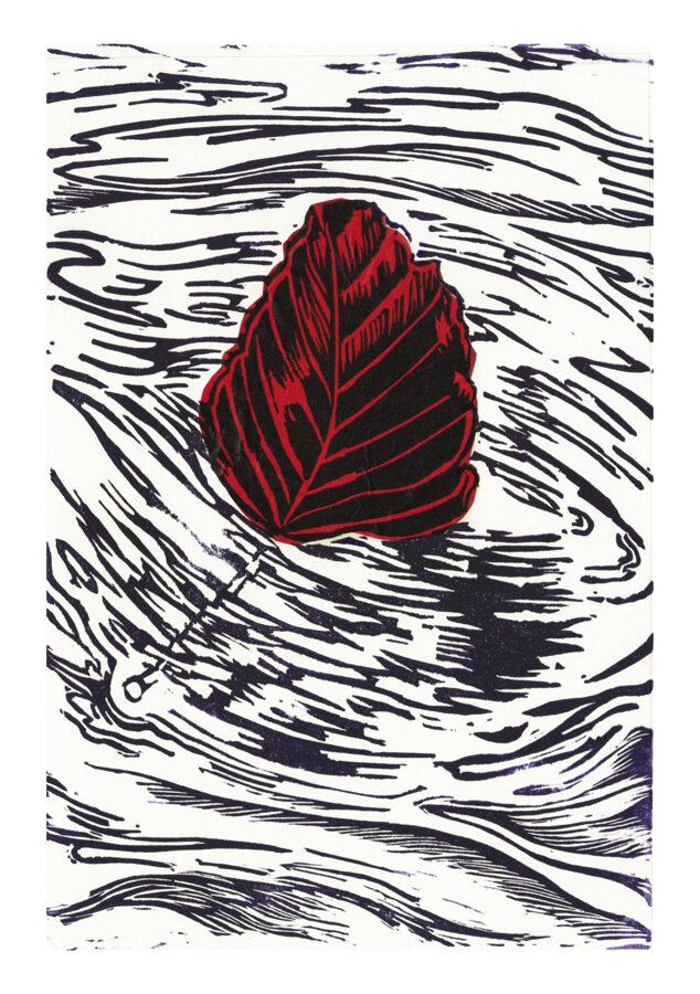 Drifting Beech Leaf - Black On Red Tissue