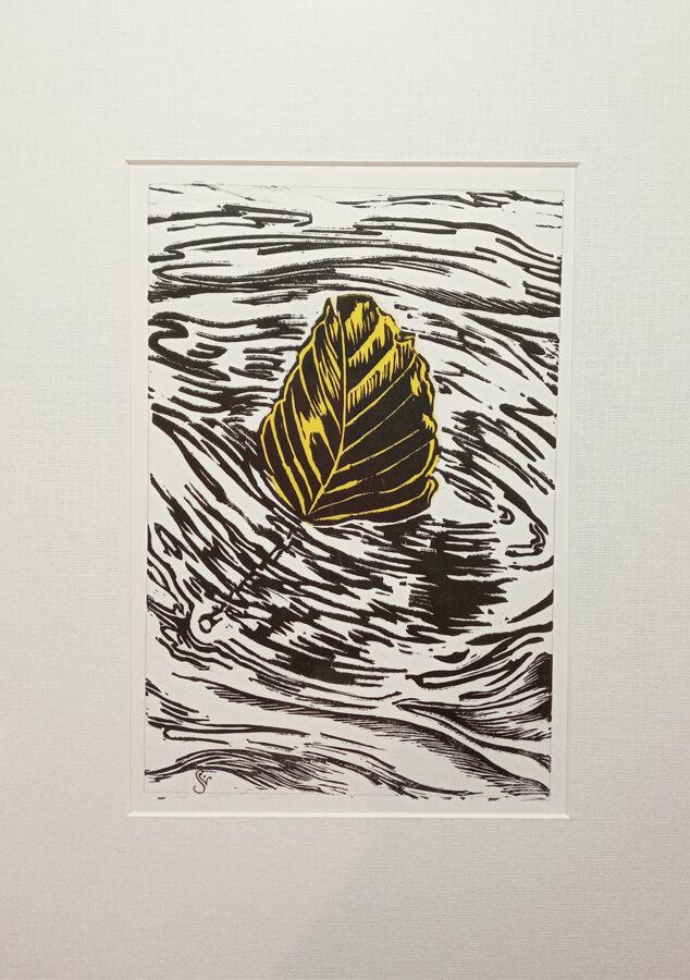Drifting Beech Leaf - Black On Yellow Tissue
