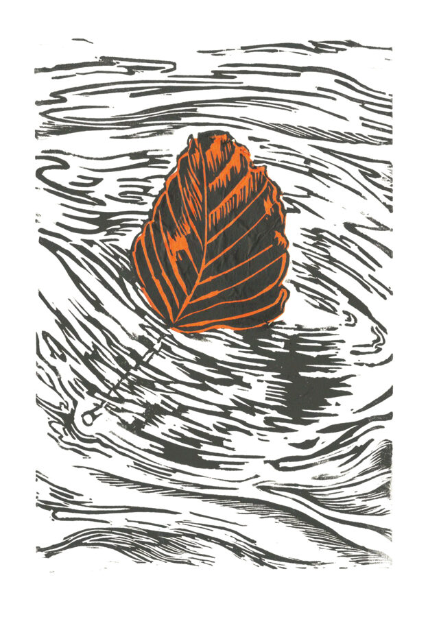 Drifting Beech Leaf - Black & Amber