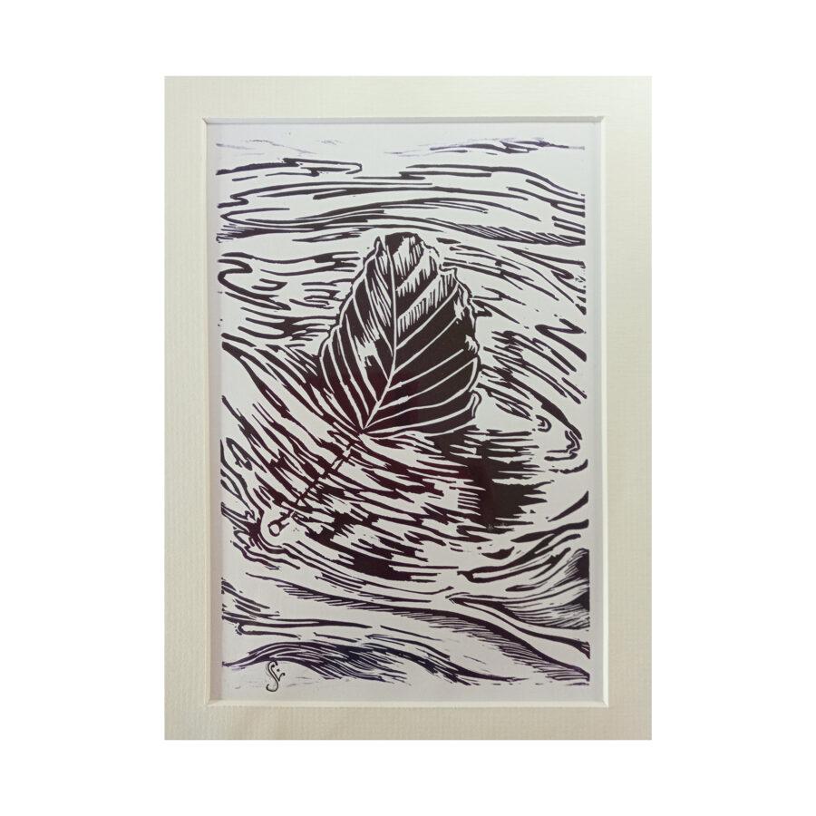 Drifting Beech Leaf - Violet On White
