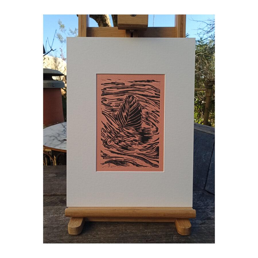 Drifting Beech Leaf - Linocut On Coral Ingres Paper