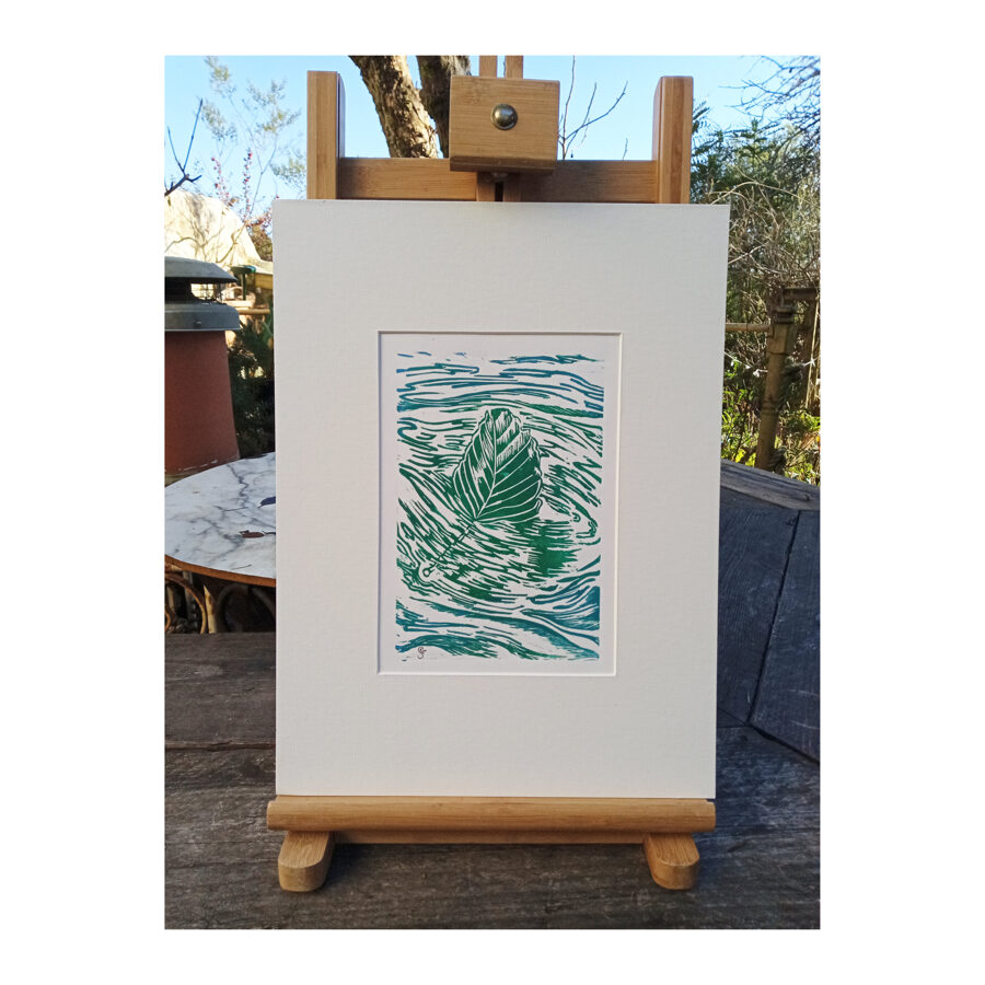 Drifting Beech Leaf - Green & Turquoise On Cartridge Paper