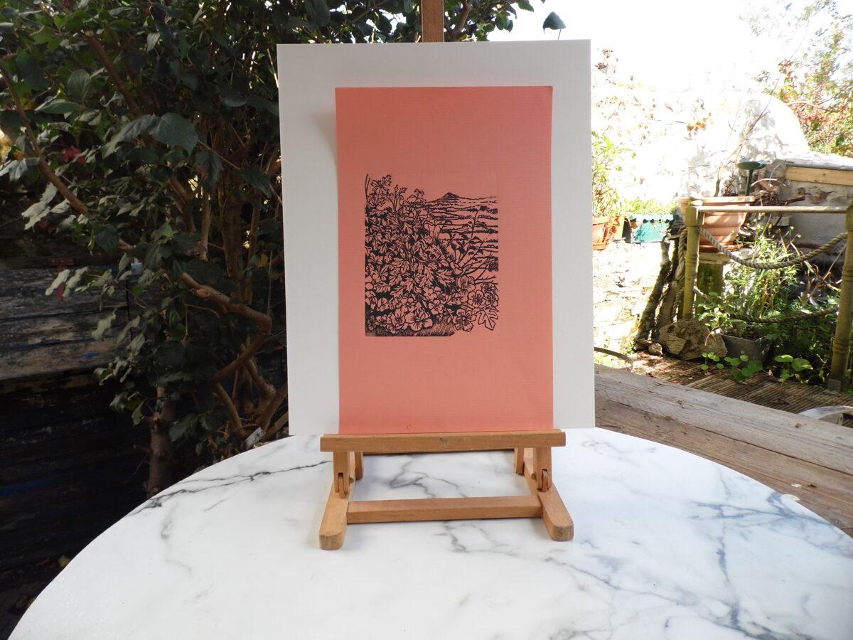 Past Hawthorns - Black On Coral Ingres Paper