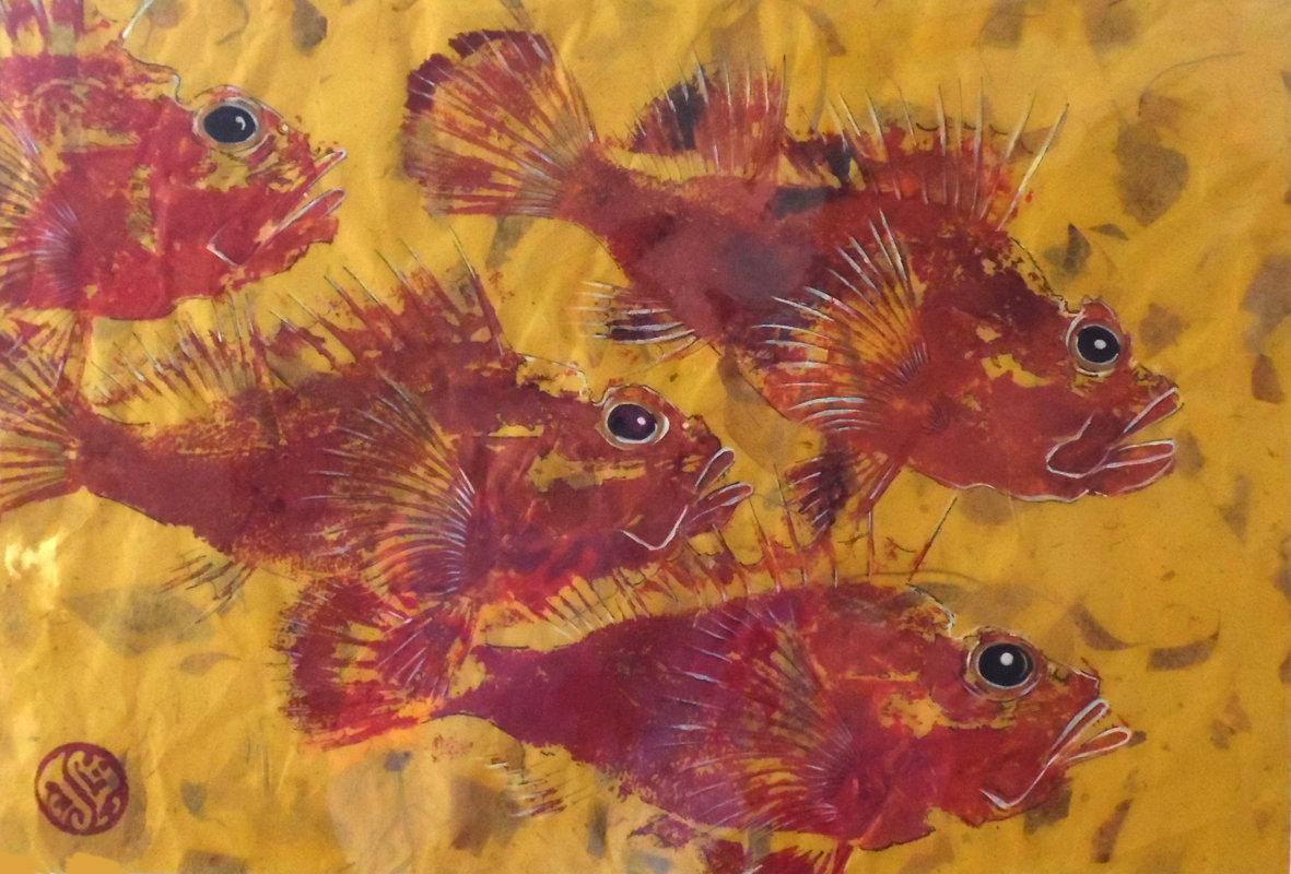 4 Scorpion Fish On Lemon Lokta Paper