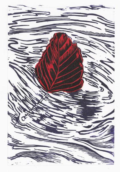 Drifting Beech Leaf - Violet On Red