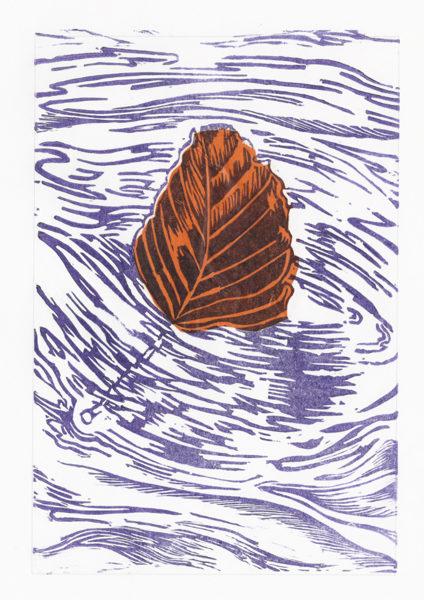 Drifting Beech Leaf - Violet On Orange