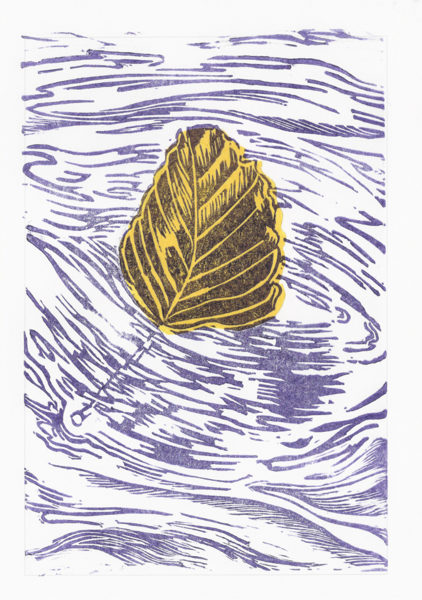 Drifting Beech Leaf - Violet On Yellow