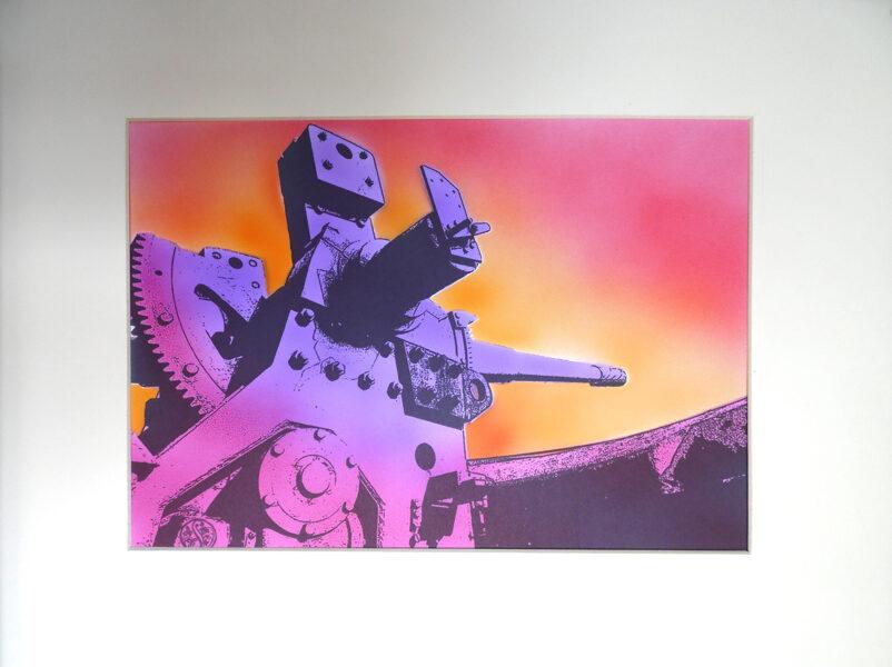 "Pendennis Castle, 6"" Gun - Magenta & Purple, Sky Aflame"