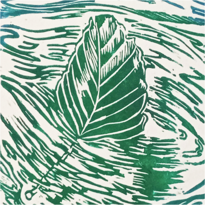 Drifting Beech Leaf Green & Turquoise